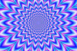 Abstrakte geometrische Grafik, beim Hinsehen verrückt beweglich, mit Hypnosewirkung, weiß, blau und pink.