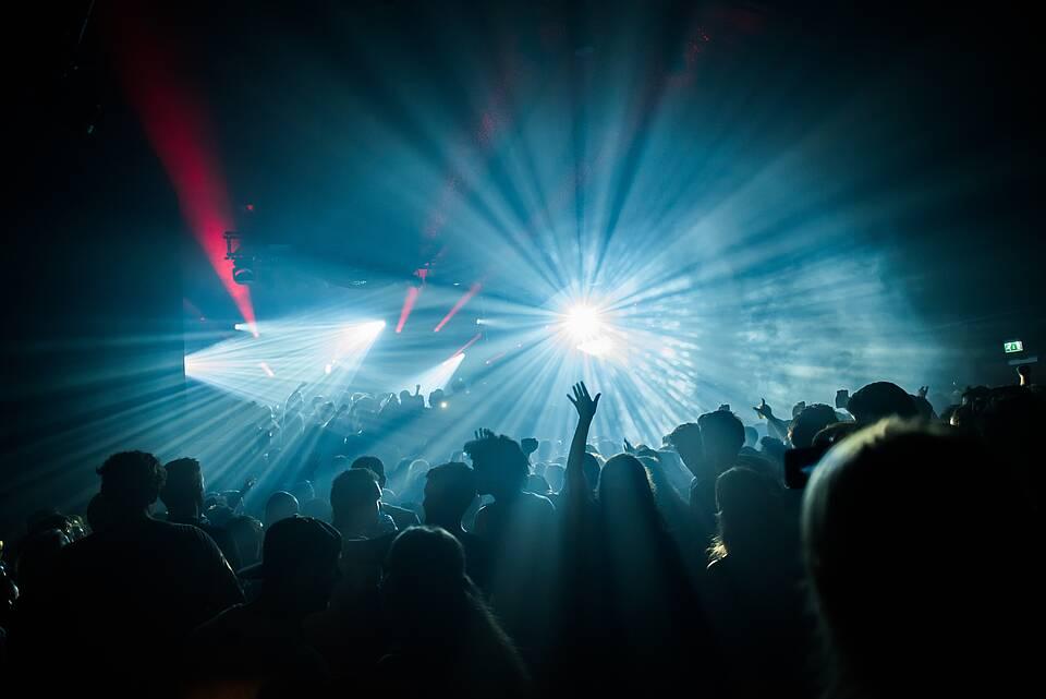 Lightshow im Techno-Club.