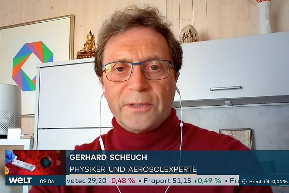 """Aerosol-Experte Gerhard Scheuch - Screenshot Interview bei """"WELT Nachrichtensender""""."""