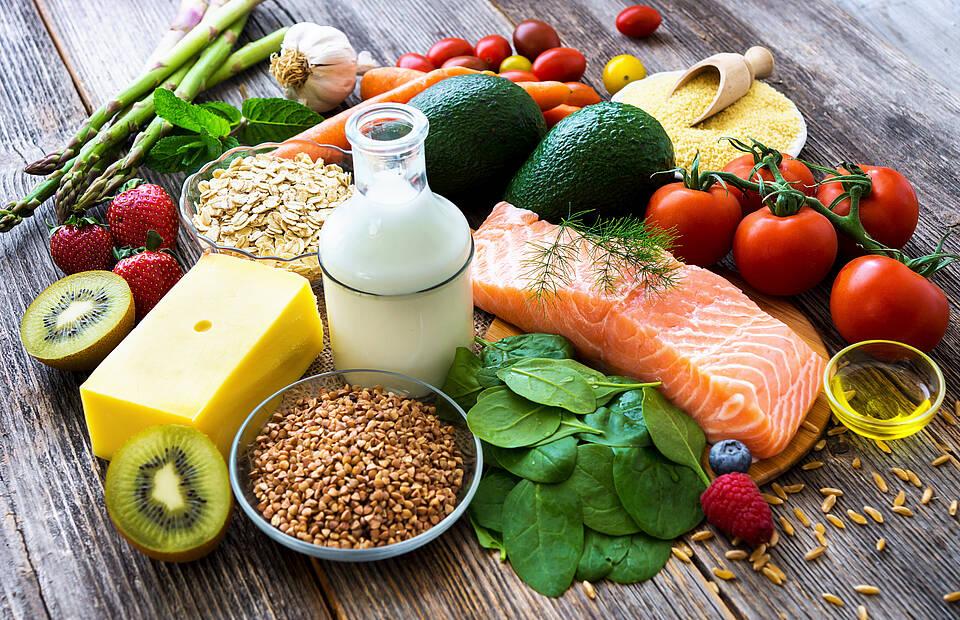 Milchprodukte, Fisch, Gemüse