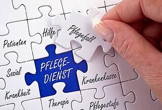 """Puzzlespiel: offenes Feld mit """"Pflegedienst"""""""
