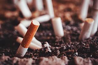 Zigarettenstummel im Aschenbecher.