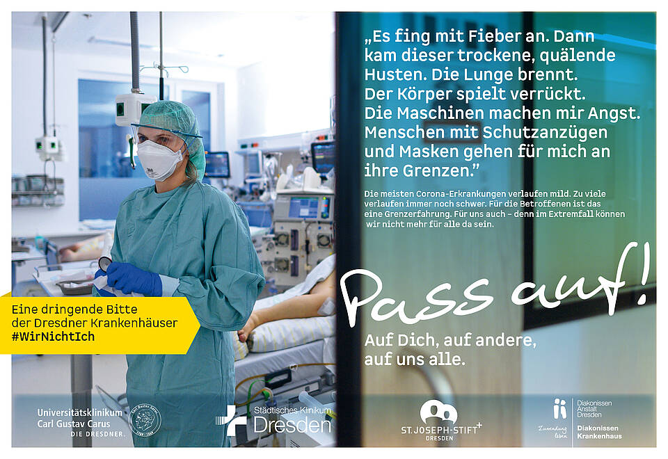 Corona-Kampagne der Dresdner Krankenhäuser: Die Lage ist sehr ernst