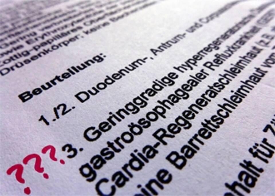 Befundbericht Refluxkrankheit Detailansicht mit Fachbegriffen