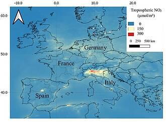 Satellitenbild Luftverschmutzung Stickstoffdioxid Norditalien
