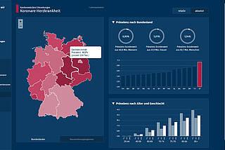 """Screenshot der Website """"Krankheitslage Deutschland"""" mit Zahlen, Landkarte und Balken-Diagrammen"""