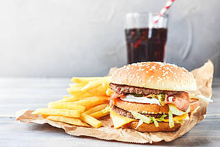 hamburger, burger, pommes, cola, fast food
