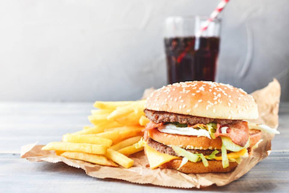 hamburger, burger, pommes, cola, fast food
