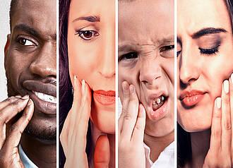 Collage: Vier Gesichter mit Zahnschmerzen