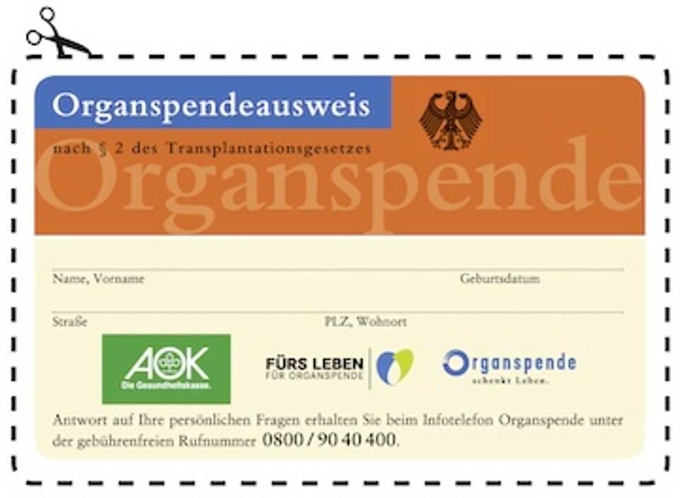 Der Organspendeausweis entlastet Angehörige bei einer schwierigen Entscheidung