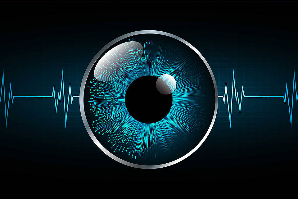 Graphik: Auge mit blauer Iris, unregelmäßige EKG-Kurve im Hintergrund.