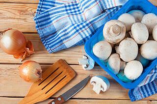 Champignons, Zuchtchampignons, Pilze, Pilzpfanne