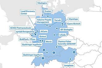 Landkarte D-A-CH: Coronavirus Impfstoffe Projekte Pharmaindustrie