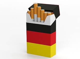 Zigarettenschachtel Verpackung schwarz-rot-gold