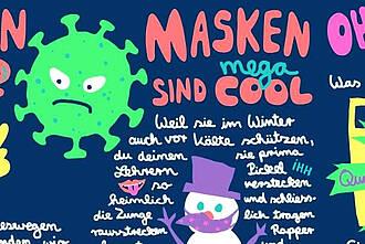 """Das Corona-Info-Comic der Uni Witten/Herdecke mit dem Slogan """"Masken sind mega cool""""."""