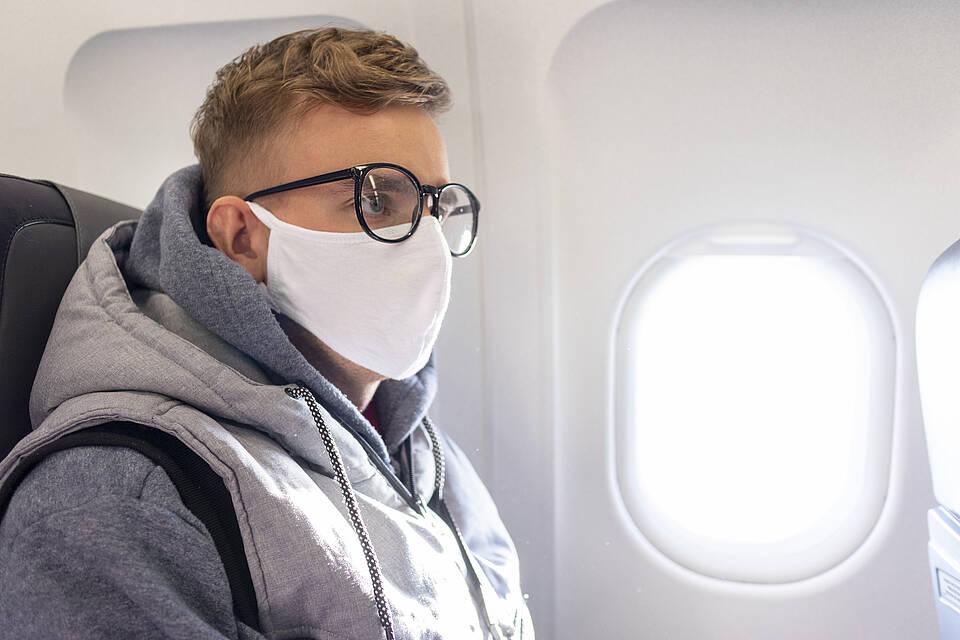 Flugzeug, Mundschutz, Passagier