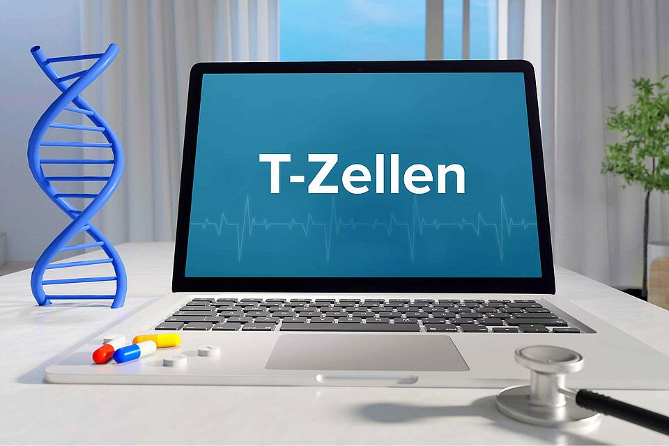 """Arztschreibtisch mit Stethoskop und bunte Pillen. Auf dem Laptop-Display steht """"T-Zellen""""."""