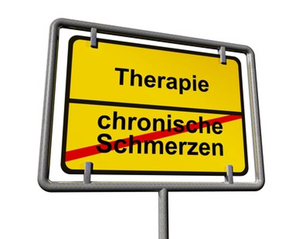 """gelbes Ortsausgangsschild: """"chronische Schmerzen"""" durchgestrichen, Pfeil nach dem nächsten Ort: """"Therapie"""""""