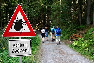 Zecken-Warnschild an einem Waldweg mit Wanderern.