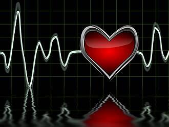 Grafik mit zittriger EKG-Kurve und rotem Herz.