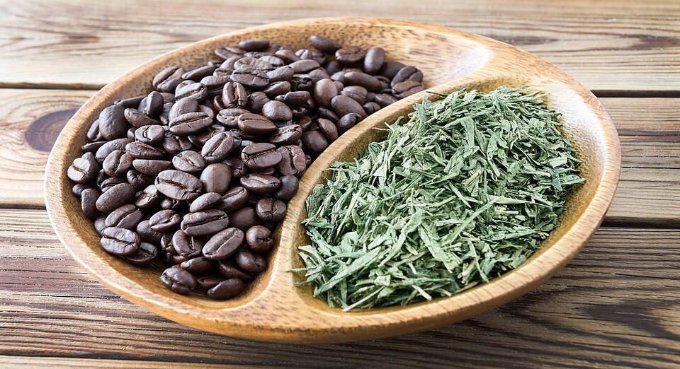 Kaffee, Kaffeebohnen, Grüner Tee