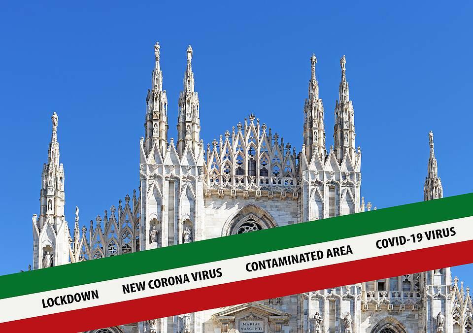 Mailänder Dom + Banderole in italienischen Farben mit Schrift: Lockdown Coronavirus verseuchtes Gebiet
