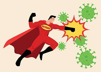 """Comicfigur """"Superman"""" mit Aufschrift """"Antibody"""" schlägt grüne Viren mit der Faust."""